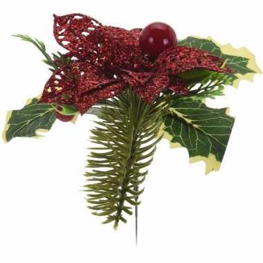 Kerststukjes maken prikker met bloem