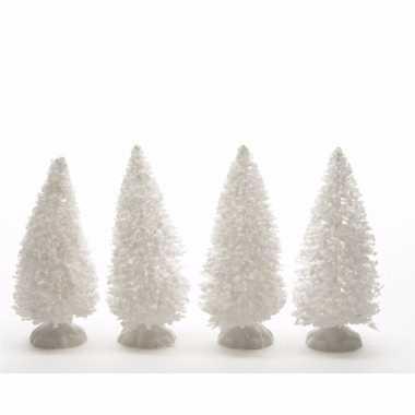 Kersttafel besneeuwde denneboom set van vier stuks 10 cm