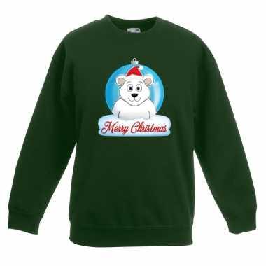 Kersttrui ijsbeer kerstbal groen voor jongens en meisjes