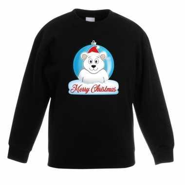 Kersttrui ijsbeer kerstbal zwart voor jongens en meisjes