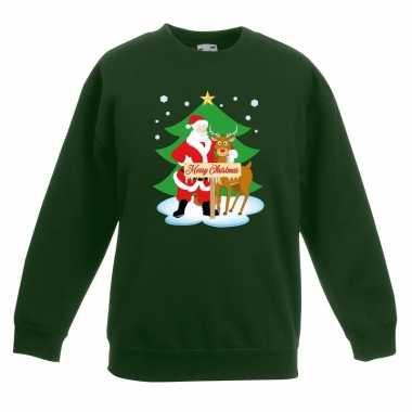 Kersttrui kerstman en rendier voor kerstboom groen voor jongens en me