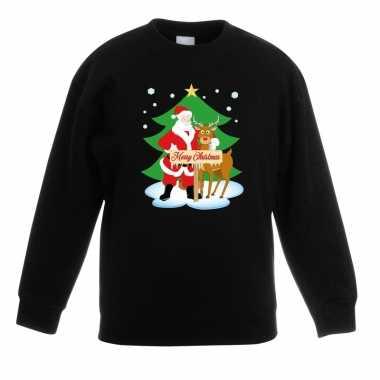 Kersttrui kerstman en rendier voor kerstboom zwart voor jongens en me