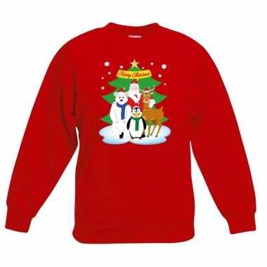 Kersttrui kerstman en vrienden voor kerstboom rood voor jongens en me