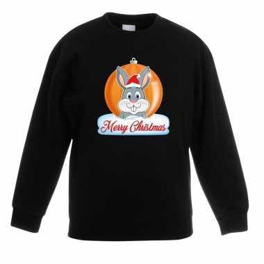 Kersttrui konijn kerstbal zwart voor jongens en meisjes