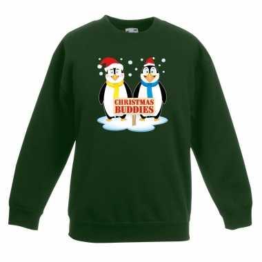 Kersttrui met 2 pinguin vriendjes groen voor jongens en meisjes