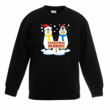 Kersttrui met 2 pinguin vriendjes zwart voor jongens en meisjes