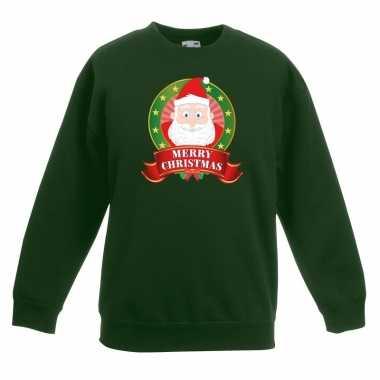 Kersttrui met de kerstman groen voor jongens en meisjes