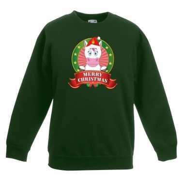 Kersttrui met eenhoorn groen voor jongens en meisjes