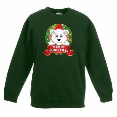 Kersttrui met ijsbeer groen voor jongens en meisjes