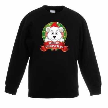 Kersttrui met ijsbeer zwart voor jongens en meisjes