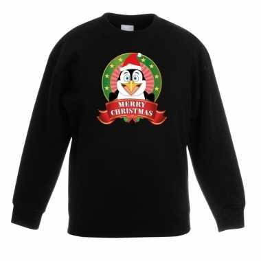Kersttrui met pinguin zwart voor jongens en meisjes