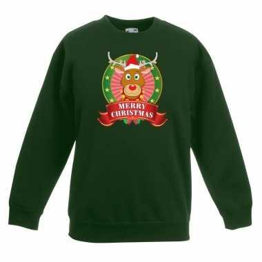 Kersttrui met rudolf het rendier groen voor jongens en meisjes