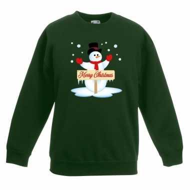 Kersttrui met sneeuwpop groen voor jongens en meisjes