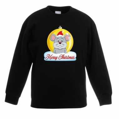 Kersttrui muis kerstbal zwart voor jongens en meisjes
