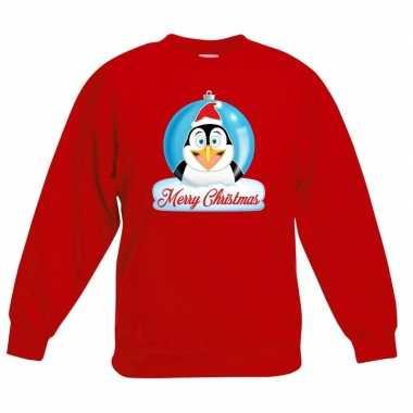 Kersttrui pinguin kerstbal rood voor jongens en meisjes