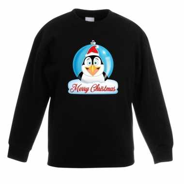 Kersttrui pinguin kerstbal zwart voor jongens en meisjes
