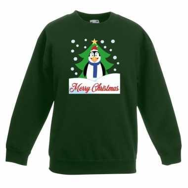 Kersttrui pinguin voor kerstboom groen voor jongens en meisjes