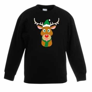 Kersttrui rendier rudolf met groene muts zwart voor jongens en meisje