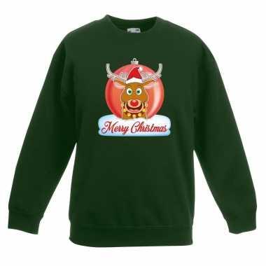 Kersttrui rudolf kerstbal groen voor jongens en meisjes