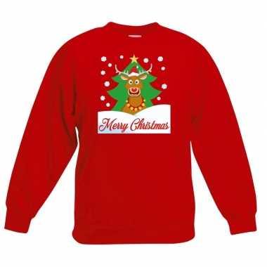 Kersttrui rudolf voor kerstboom rood voor jongens en meisjes