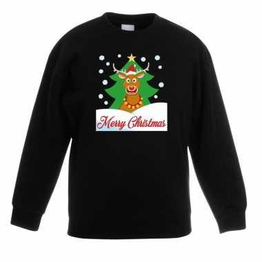 Kersttrui rudolf voor kerstboom zwart voor jongens en meisjes