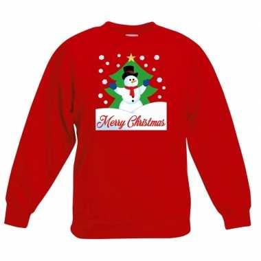 Kersttrui sneeuwman voor kerstboom rood voor jongens en meisjes
