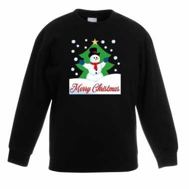 Kersttrui sneeuwman voor kerstboom zwart voor jongens en meisjes