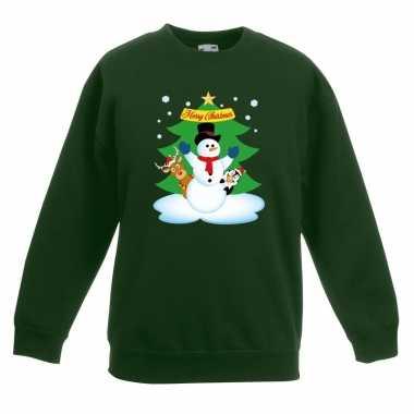 Kersttrui sneeuwpop en vrienden voor kerstboom groen voor jongens en