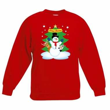 Kersttrui sneeuwpop en vrienden voor kerstboom rood voor jongens en m