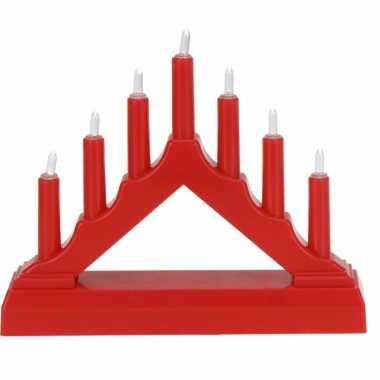 Kerstverlichting rode led kaarsenbrug op batterijen