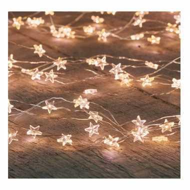 Kerstverlichting sterretjes met timer warm wit 1 meter