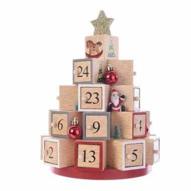 Kerstversiering adventskalender kerstboom van hout 28 cm