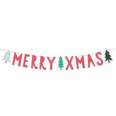 Kerstversiering banner merry christmas 12 x 120 cm