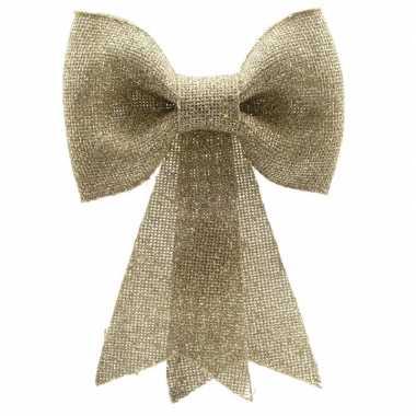Kerstversiering hangende strik goud 12 x 14 cm