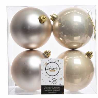 Kerstversiering kerstballen 8x champagne kunststof 10 cm