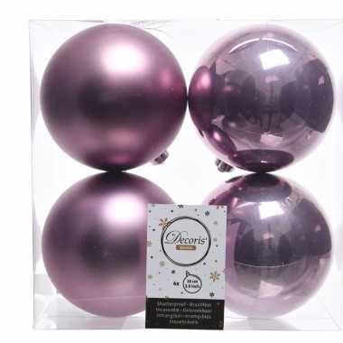 Kerstversiering kerstballen 8x lila paars kunststof 10 cm