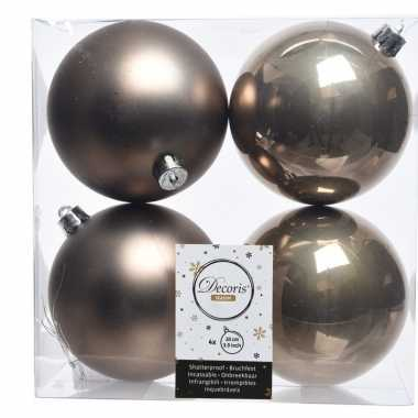 Kerstversiering kerstballen bruin kunststof 10 cm