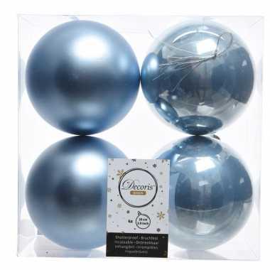 Kerstversiering kerstballen ijsblauw kunststof 10 cm