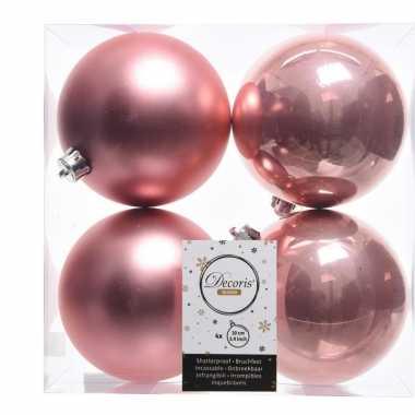 Kerstversiering kerstballen oud roze kunststof 10 cm