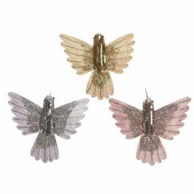 Kerstversiering kolibrie vogel zilver met pailletten 14 cm