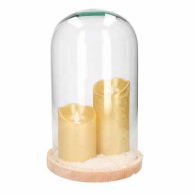 Kerstversiering stolp met 2 gouden led kaarsen