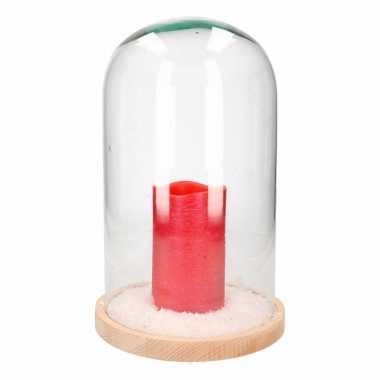 Kerstversiering stolp met lage rode led kaars