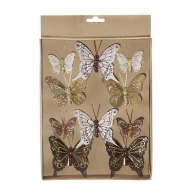 Kerstversiering vlinders op clip bruin/goud 10x