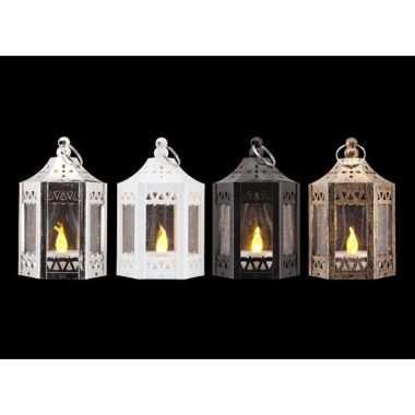 Kerstversiering witte metalen lantaarn met led theelichtje 10 cm