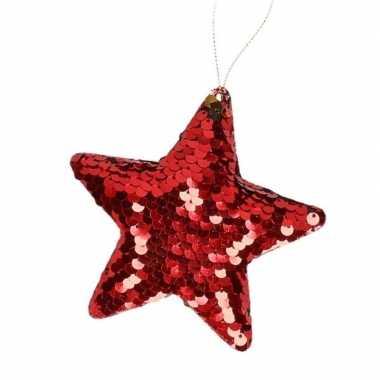 Kinder kersthangers pailletten ster rood