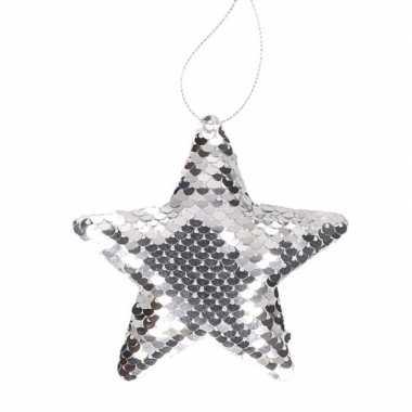 Kinder kersthangers pailletten ster zilver