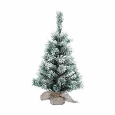 Klein decoratie kerstboompje met sneeuw 35 cm