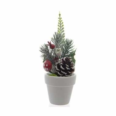 Klein kerststukje voor op tafel 16 cm