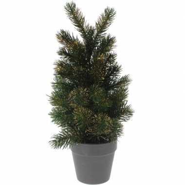 Kleine kunst kerstboom decoratie 29 cm groen/goud