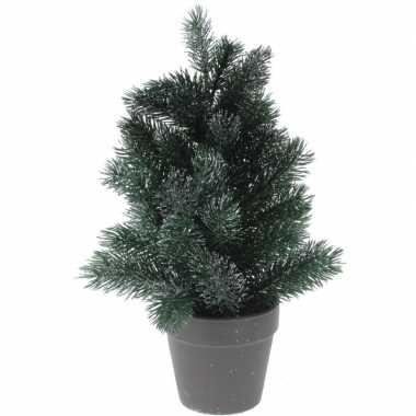 Kleine kunst kerstboom decoratie 29 cm groen/zilver